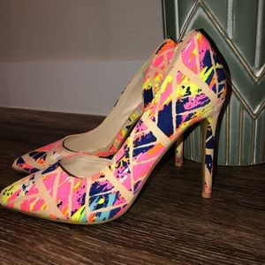 Neon pointy heels size 9